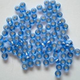 Glas rocaille 2mm (12.0) Saffierblauw Silverlined - Per zakje  10 gram (ca.800st.)