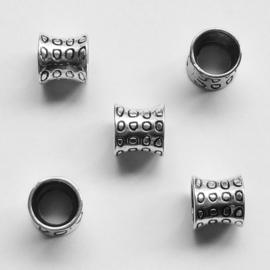metalen kraal 12x12mm - met groot gat ca 8mm