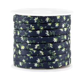 Gebloemd Plat Koord – 5x2mm - Donkerblauw / Groen / Wit – 20cm