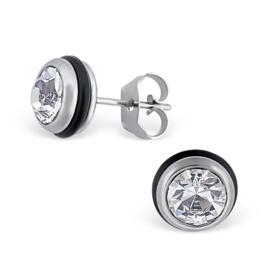Stainless steel heren oorstekers met blanke zirkonia en rubber - 8mm - rond