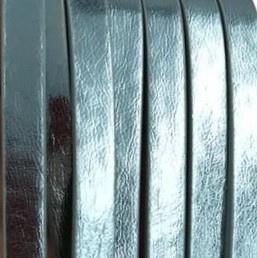 Plat Imitatieleer 5x2mm Metallic Blauw - 20cm
