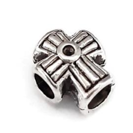 Metalen kraal met groot gat - kruis - 12x10x9mm - gat 4.5mm