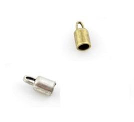 Eindkapje voor Leer - Veter - Gat 5mm - zilver- of oudgoudkleur - 2 stuks