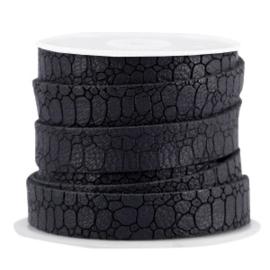 Plat Imitatieleer 10mm – Croco Grijs/Zwart – 10cm