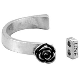 Metaal Halve Armband Roos Antiek Zilver voor 3mm leer / veter / koord