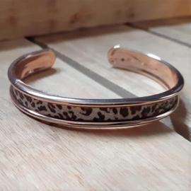 DQ Armband Cuff met Crystal Glitter Tape -Rosé Goudkleur met Luipaardprint