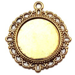 Cabochonsetting rond +/- 35 x 32mm - Oud Goudkleur - voor 20mm cabochon