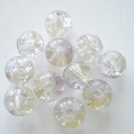 Glaskraal Crackle rond 6mm – Duo Kristal Paars -  15 stuks