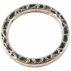Metalen Tussenzetsel Ring, Rond 2 zijdig bewerkt - 22mm Zilverkleur