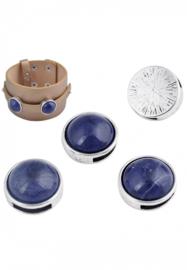 Leerschuif - Schuifkraal Metaal - plat rond met kunststof donkerblauwe plaksteen - 17mm