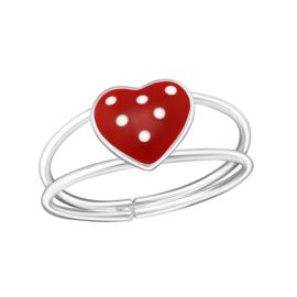 Kinder Ring Rood Hartje met Witte Stippen  - 925 sterling zilver