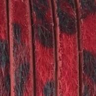 Plat Imitatieleer Vachtkoord 5x2mm - Rood-Zwart - 20cm