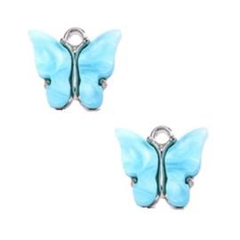 Bedel Vlinder Licht Blauw - Zilver 15x13mm