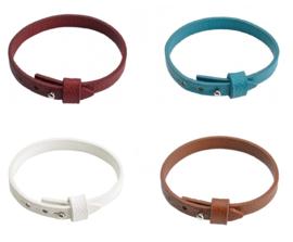 Imitatie Leren Armband met Studslotje - voor Schuifkralen - 9.5x2mm