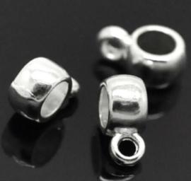 Kraal met oogje – Zilverkleur metaal 9x6x3 gat 3mm - 5 stuks