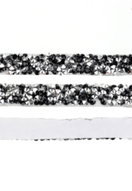 Crystal diamond tape 10mm Black-silver   20cm