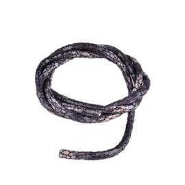 Imitatie Leer - Rond - Zwart - 5mm  - 20cm