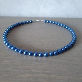 Halsketting van Jeans Blauwe Glasparels  - 44.5cm