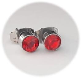 Stainless steel oorsteker met zirkiona - 5mm - rood