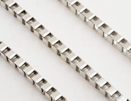 Metalen vierkante schakelketting (boxchain) zilverkleur - 50cm