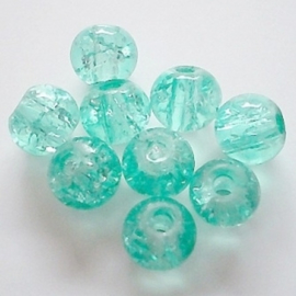 Glaskraal crackle 6mm - Aqua - 15 stuks