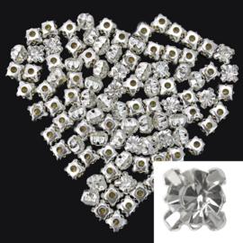 Silver Plated Helder Kristal Spacer Kralen -  5 stuks