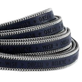 Imitatie Plat Leer met Schakelketting Zilverkleur – Donker Middernacht Blauw - 5cm