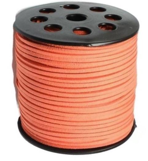 Faux Suede koord Plat - Koraalrood ( coral red ) 3x1.4mm
