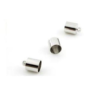 Eindkapje met oog - metaal - Zilverkleur  - 2 stuks - voor 3,5mm, 4,5mm of 6,5mm Leer / Koord