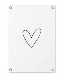 Tuinposter: Wit met zwart hartje