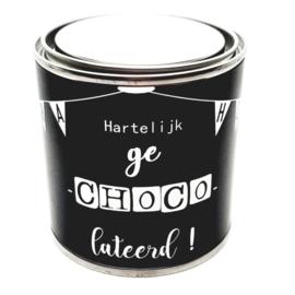Cadeaublik: 'Hartelijk gechocolateerd' 250ml