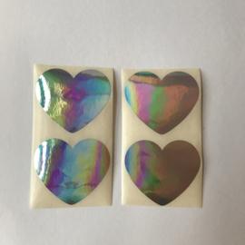 Sticker hartje | groot 5 cm holografisch folie | 20 stuks