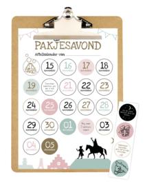 Aftelkalender Sinterklaas met klembord en stickers / pakjesavond