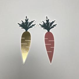 Tags | wortels goud / oranje | 2 stuks