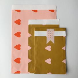 Zakjes | love hearts baby pink / oranje | 10 stuks