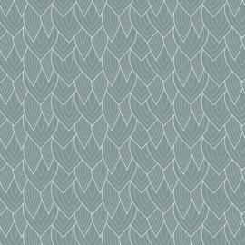 Cadeaupapier rol  | groen blauw bladeren | 30 cm x 2 meter