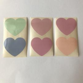 Sticker hartje | groot 5 cm pastel mix | 20 stuks