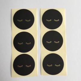 Sticker rond | oogjes zwart met goud folie | 10 stuks