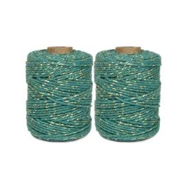 Touw | Jade blauw / goud | 2mm x 50 meter | per stuk