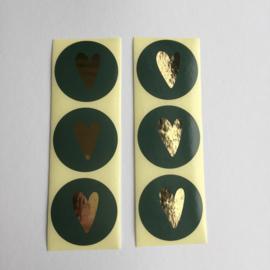 Sticker hart | groen/goud | 20 stuks