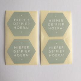 Sticker zeshoek | hieperdepiepHoera! sage green | 10 stuks