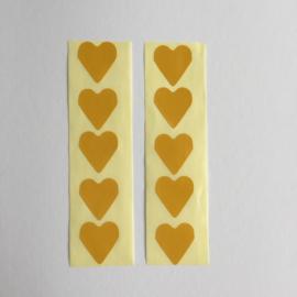 Sticker mini hartje | oker geel | 30 stuks