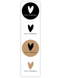 Sticker rond   fijne feestdag hartje 4 verschillende   20 stuks