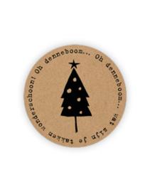 Sticker rond   oh denneboom  20 stuks