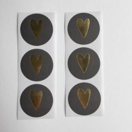 Sticker hart | zwart met gouden hartje | 20 stuks