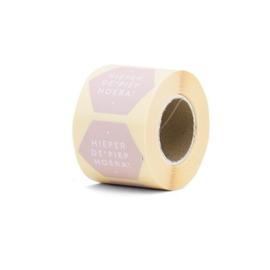 Sticker zeshoek | hieperdepiepHoera! roze | 10 stuks