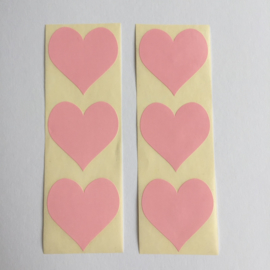 Sticker hart | pastel roze | 30 stuks