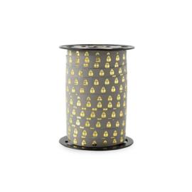 Lint | bedrukt gold grey mijter | 10mm x 5 meter