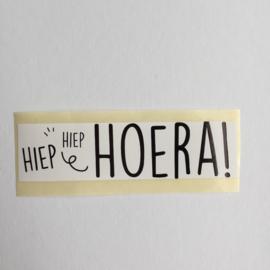 Sticker rechthoek | Hiep Hiep Hoera! | zwart / wit |10 stuks