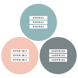 Stickers multi groot |  (hoera - open mij - suprise) | 9 stuks